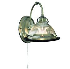 Glas geriffelt 1-fl.Messing* Wandleuchte*Lampe*LED Kompat* Dimmbar Zugschalter