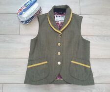 Tom Joules Beverley Tweed check Waistcoat toad Green red 10 wool gilet jacket
