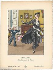 Pierre BRISSAUD Pochoir Art Déco ORIGINAL N°3 pl.23 Mars 1914 GAZETTE DU BON TON