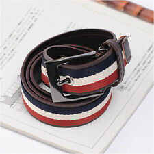 Men's Casual Fashion Belt Faux Synthetic Leather Tricolor Belts Dark Brown Color