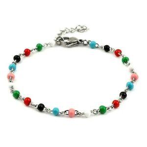 304 Grade Quality Stainless Steel Multicolor Beads Beaded Chain Bracelet