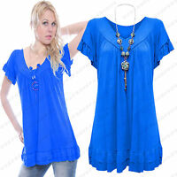 Ladies Womens Short Sleeve Frill Necklace Summer Gypsy Tunic Top Plus Size 12-30