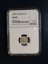 1902 Canada Five Cents NGC AU50 SILVER 5C Coin PRICED TO SELL RIGHT NOW!