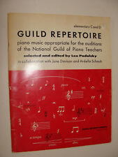 National Guild of Piano Teachers Guild Repertoire Auditions1961 Elementary C & D