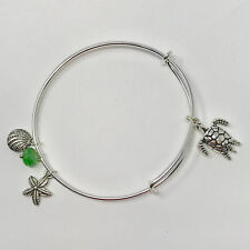 Sea Turtle - Silver Toned Adjustable Bangle Bracelet With Ocean Themed Charms