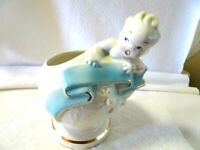 Vintage White Ceramic Planter for Welcoming Baby Boy-NOS-Globe-Blue Banner-Gold