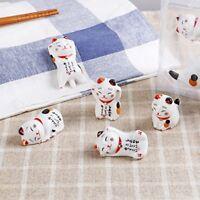 Hashioki Manekineko lucky cat Japanese chopstick rest set of 5