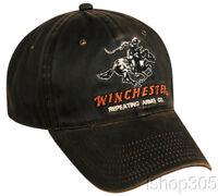 WINCHESTER Dark Brown Hunting Hat Target Shooting Rifles Firearms Baseball Cap