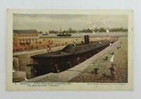 1907 Jamestown Expo Souvenir Postcard Ship Dry Dock Merrimac VA Iron Battery