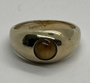 Ring Size 10 Signet Tigers Eye Gold Electroplated Modernist Vintage