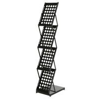 4-Tier Modern Folding Portable Metal Magazine Rack Black Display Organizer Stand