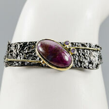 Handmade Natural Ruby 925 Sterling Silver Bracelet Inches 7.5/BR03448