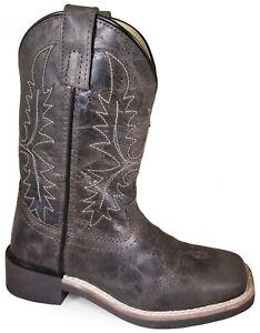 Smoky Children Bowie Dark Brown Distress Western Cowboy Boot