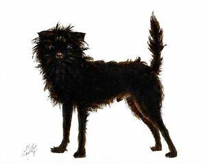 @ Original Oil Portrait Painting AFFENPINSCHER Artist Signed Artwork Black Dog