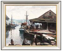Emile A Gruppe Original Oil Painting On Canvas Signed Gloucester Harbor Pier Art