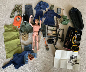 LOT ORIGINAL VINTAGE GOOD ACTION MAN FLOCK FIGURE ACCESSORIES WEAPONS OUTFITS