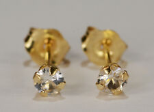BEENJEWELED GENUINE NATURAL MINED WHITE SAPPHIRE EARRINGS~ 14 KT YELLOW GOLD~3MM