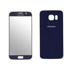 Frontglas Display Ersatzglas Backcover Akkufachdeckel für Samsung Galaxy S6 Blau