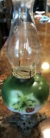 Vintage Antique Strawberry Painted Glass Oil Lamp Brass Footed
