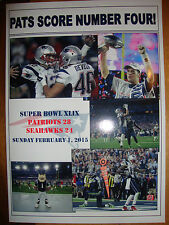 New England Patriots 28 Seattle Seahawks 24 - 2015 Super Bowl - souvenir print