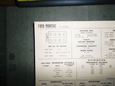 1959 Pontiac Eight Series All Models 389 Cubic Inch V8 Tune Up Chart