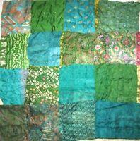 """LOT PURE SILK Vintage Sari Fabrics REMNANT 16 pcs 8"""" SQUARES Green DECOR PROJECT"""