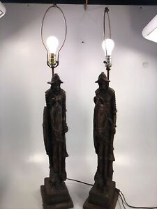 Pair Lamps Knight Horse Cross Shield Carved Wood? Art Deco 'Lite America' RARE!