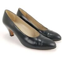 Salvatore Ferragamo Womens Sz 6.5 B Black Pumps High Heels Leather Made In Italy