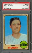 1968 Topps Pete Richert #354 - Baltimore Orioles - PSA 8 - NM-MT