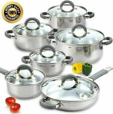 Induction Cooktop Cookware Set Stainless Steel Cooking Pots Pans Utensils 12 Pcs