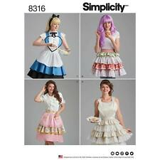 SIMPLICITY SEWING PATTERN MISSES' ALICE IN WONDERLAND APRON HALF & FULL 8316