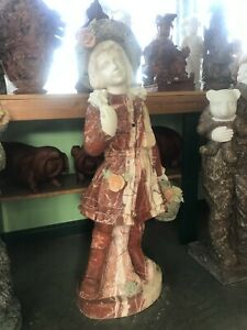 """Adorable lively life-size sculpture of young girl solid color marble statue 39"""""""