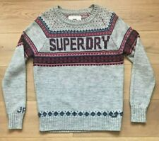 SUPERDRY Vintage Nordic Knit Jumper Grey Burgundy Logo M