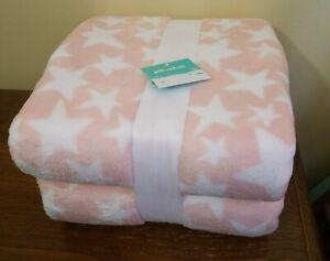 Pillowfort Blanket Stars Plush PEACH Blanket - 88in x90in
