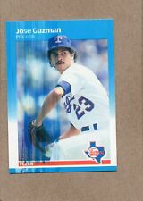 jose guzman texas rangers 1987 fleer 124 printing error card ink streak