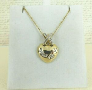 9ct Gold Pendant Heart Moon and Stars & Chain Hallmarked 20'' with gift box