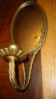 Vintage Homco Twisted Gold Rope Metal Oval-Mirror Wall Sconce Candle Holder   39