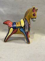 Vintage Mexican Art Pottery Horse Bank Figurine Bright Colors Piggy Bank