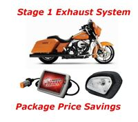 Rinehart Black Slimline Dual Exhaust w/ Air Cleaner & Power Vision M8 Harley FL