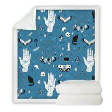 Magic Skull Witchcraft Blue Sherpa Plush Throw Blanket Fleece Bed Sofa Couch