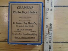 1 UNOPENED BOX VINTAGE CRAMERS PHOTO DRY PLATES SUPER CONTRAST GLASS PLATES