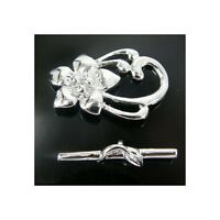 Toggle Clasp, Lily,  Silver Plated jewellery making Findings,  K5 10 SETS