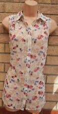 NEW LOOK CREAM PINK BLUE FLORAL BUTTERFLY BUTTONED SLEEVELESS T SHIRT TOP 12 M