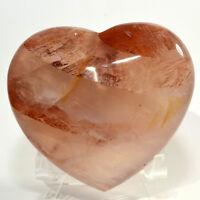 "3.8"" Fire Red Hematoid Quartz Puffy Heart Natural Mineral Love Stone Madagascar"