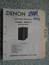 Denon dsw-1 service manual original repair book stereo speaker super woofer