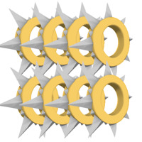 Animal Jam - Yellow Long Spiked Collar Bundle (8 Spikes)