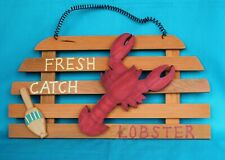 Lobster Sign Plaque Fresh Catch Wood Cut Out Beach House Nautical Seafood New