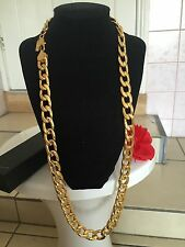 "Lifetime 15mm 30"" 18K Yellow Gold Plated Cuban Link Chain Necklace Birthday Gift"