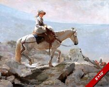 YOUNG WOMAN RIDING SIDE SADDLE ON HORSE MT TRAIL PAINTING REAL CANVAS ART PRINT