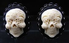 Vintage Style Mexican Sugar Skull Cameo Earrings